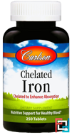 Chelated Iron, Carlson Labs, 250 Tablets