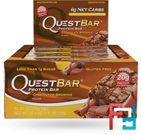 Quest Nutrition, QuestBar, Protein Bar, Chocolate Brownie, 12 Bars, 2.1 oz (60 g) Each