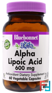 Alpha Lipoic Acid, Bluebonnet Nutrition, 600 mg, 60 Veggie Caps