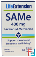 SAMe (S-Adenosyl-L-Methionine), 400 mg, Life Extension, 60 Enteric Coated Tablets