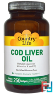 Cod Liver Oil, Country Life, 250 Softgels