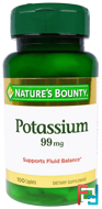 Potassium, 99 mg, Nature's Bounty, 100 Caplets