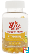 Slice of Life, Vitamin D3, Adult Gummy Vitamins, Lemon Flavor, 1000 IU, Hero Nutritional Products, 60 Gummies