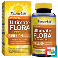 Everyday, Ultimate Flora Probiotic, 15 Billion Live Cultures, Renew Life, 30 Vegetable Capsules