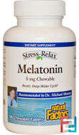 Stress-Relax, Melatonin, Natural Factors, 5 mg, 180 Chewable Tablets
