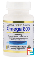 Omega 800 by Madre Labs, Pharmaceutical Grade Fish Oil, 80% EPA/DHA, Triglyceride Form, California Gold Nutrition, 1.000 mg, 30 Fish Gelatin Softgels