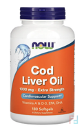 Cod Liver Oil, 1,000 mg, Now Foods, 180 Softgels