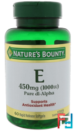 Vitamin E, Pure Dl-Alpha, 1000 IU, Nature's Bounty, 60 Rapid Release Softgels