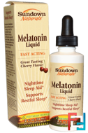 Melatonin Liquid, Cherry Flavor, Sundown Naturals, 2 fl oz (59 ml)