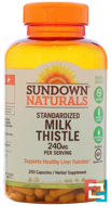 Milk Thistle Xtra, 240 mg, Sundown Naturals, 250 Capsules
