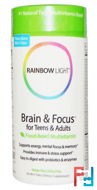 Brain & Focus for Teens & Adults, Food-Based Multivitamin, Rainbow Light, 90 Mini-Tabs