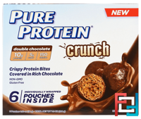 Crunch, Crispy Protein Bites, Double Chocolate, Pure Protein, 6 Individually Wrapped Pouches, 1.20 oz (34 g ) Each