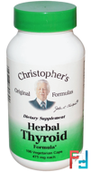 Herbal Thyroid Formula, Christopher's Original Formulas, 475 mg, 100 Veggie Caps