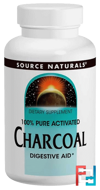 Charcoal, 260 mg, Source Naturals, 200 Capsules