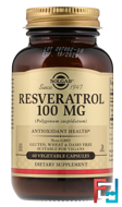 Resveratrol, Solgar, 100 mg, 60 Vegetable Capsules