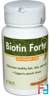 Biotin Forte, Extra Strength, Enzymatic Therapy, 5 mg, 60 Tablets