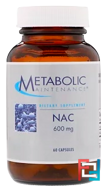 NAC, Metabolic Maintenance, 600 mg, 60 Capsules