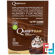 Protein Bar, Mocha Chocolate Chip, Quest Nutrition, QuestBar, 12 Bars, 2.12 oz (60 g) Each