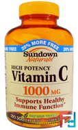 Vitamin C, 1000 mg, Sundown Naturals, 300 Caplets