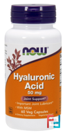 Hyaluronic Acid, Now Foods, 50 mg, 60 Veg Capsules