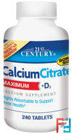 CalciumCitrate, Maximum, +D3, 21st Century, 240 Tablets