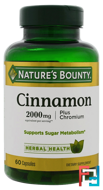 Cinnamon, Plus Chromium, Nature's Bounty, 2000 mg, 60 Capsules