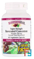 ResveratrolRich, Super Strength, Resveratrol Concentrate, Natural Factors, 60 Vegetarian Capsules