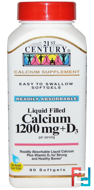 Liquid Filled Calcium 1200 mg + D3, 21st Century, 90 Softgels