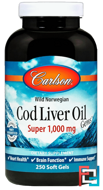 Cod Liver Oil Gems, Super, Carlson Labs, 1000 mg, 250 Soft Gels