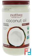 Organic Coconut Oil, Virgin, Nutiva, 23 fl oz (680 ml)