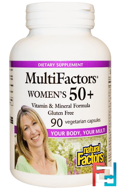 Natural Factors, MultiFactors, Women's 50+, 90 Veggie Caps