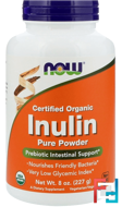 Certified Organic Inulin, Pure Powder, Now Foods, 8 oz (227 g)