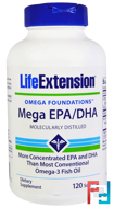 Omega Foundations, Mega EPA/DHA, Life Extension, 120 Softgels