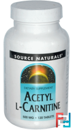 Acetyl L-Carnitine, Source Naturals, 500 mg, 120 capsules
