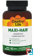 Maxi Hair, Country Life, 90 Tablets