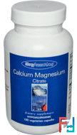 Calcium Magnesium Citrate, Allergy Research Group, 100 Veggie Caps