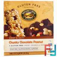 Gluten Free Selections, Chewy Granola Bars, Chunky Chocolate Peanut, Nature's Path, 5 Bars, 1.2 oz (35 g) Each