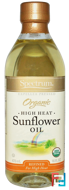 Organic High Heat Sunflower Oil, Refined, Spectrum Naturals, 16 fl oz (473 ml)