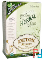 Organic Functional Herbal Blends, Detox Medley with Ginger and Turmeric, Mate Factor, 20 Tea Bags, (3.5 g) Each