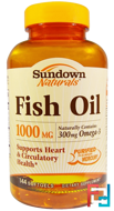 Fish Oil, 1000 mg, Sundown Naturals, 144 Softgels
