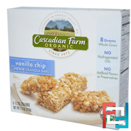Organic Chewy Granola Bars, Vanilla Chip, Cascadian Farm, 6 Bars, 1.2 oz (35 g) Each
