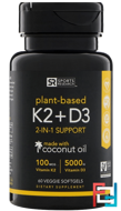 Vitamin K2 + D3, Sports Research, 100 mcg/5000 IU, 60 Veggie Softgels