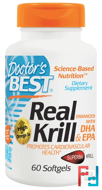 Real Krill, Enhanced with DHA & EPA, Doctor's Best, 60 Softgels