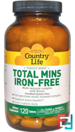 Total Mins Iron-Free, Multi-Mineral Complex with Boron, Country Life, 120 Tablets