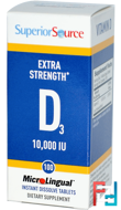 Extra Strength Vitamin D3, Superior Source, 10 000 IU, 100 MicroLingual Instant Dissolve Tablets