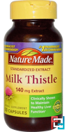 Milk Thistle, Nature Made, 140 mg Extract, 50 Capsules