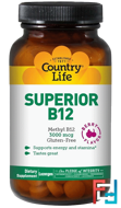 Superior B12, Berry Flavor, Country Life, 3000 mcg, 120 Sublingual Lozenges