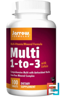 Multi 1-to-3, with Lutein, Iron-Free, Jarrow Formulas, 100 Tablets