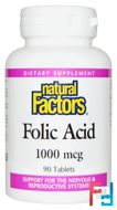 Folic Acid, 1,000 mcg, Natural Factors, 90 Tablets