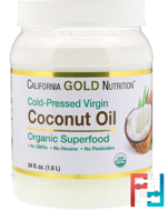 Organic Virgin Coconut Oil, Superfood, Cold Pressed, Unrefined, California Gold Nutrition, 54 fl oz, 1600 ml